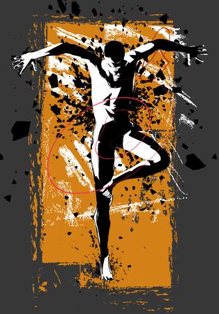 Man practicing modern dancing - vector illustration Illustration