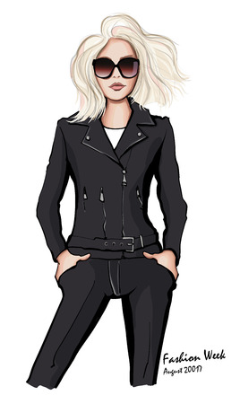 Attractive woman wearing leather jacket and sunglasses - vector illustration Illustration