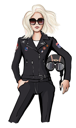 Biker girl holding helmet - vector illustration Çizim