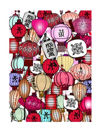Traditional lanterns in Vietnam - vector illustration