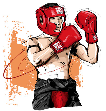 Thai boxing man fighting - vector illustration
