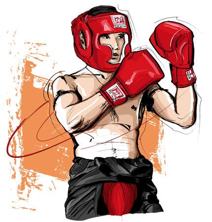 Thaise bokser man vechten - vector illustratie