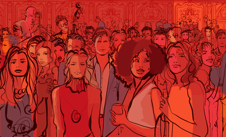 Young people in a night club - vector illustration