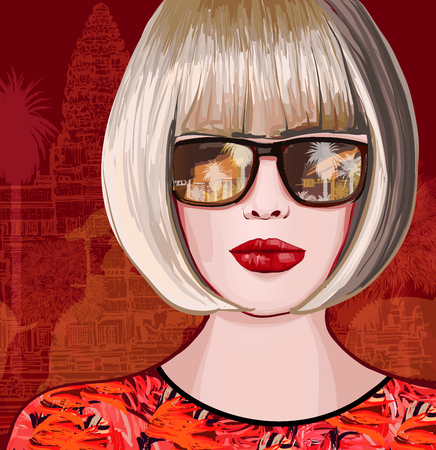 Beautiful woman traveling in Asia - vector illustration.