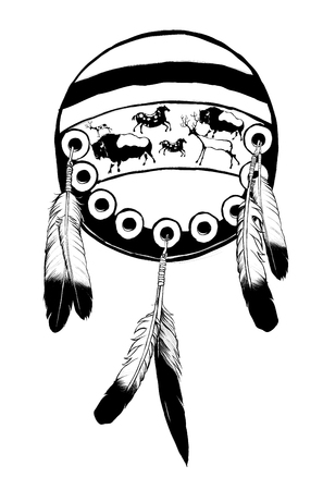 Native american shield - vector illustration  (totally fictitious)