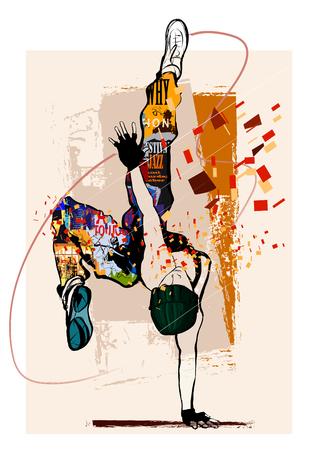 Hip hop danser op grunge achtergrond - vector illustratie