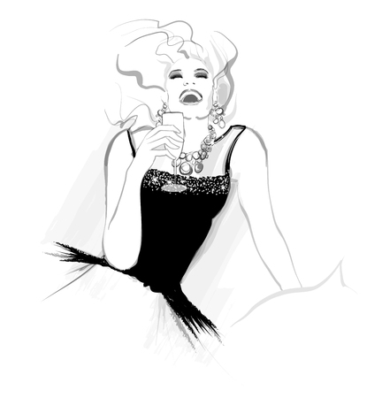 A woman with glass of champagne having fun, vector illustration.