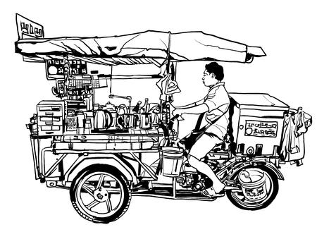 バンコク, タイ.屋台の食べ物三輪車 - ベクトル図 ベクターイラストレーション