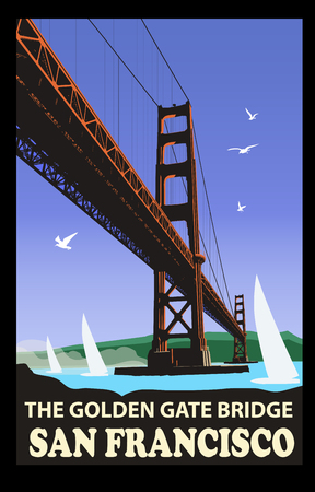 The golden gate bridge, San Francisco - vector illustration
