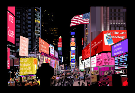 Times Square at night - vector illustration (all advertisements are fictitious)
