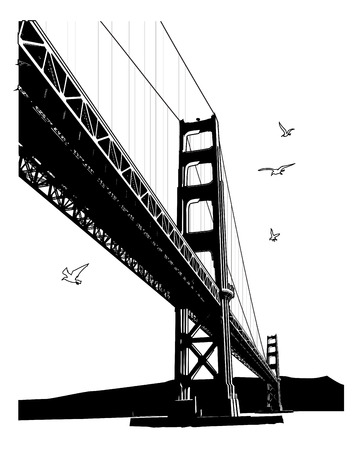 Bridge and birds vector illustration