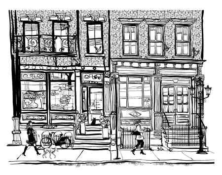 Houses in Greenwich Village New York City, vector illustration.