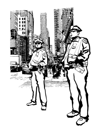 Policemen in the 5th avenue in New York, vector illustration.