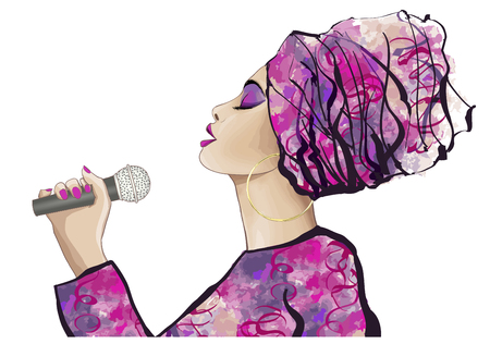 African Jazz singer - vector illustration
