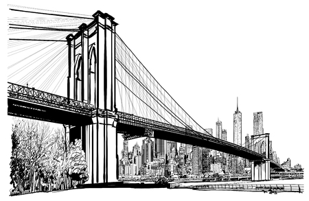 Brooklyn-Brücke in der New- Yorkillustration. Standard-Bild - 91140319