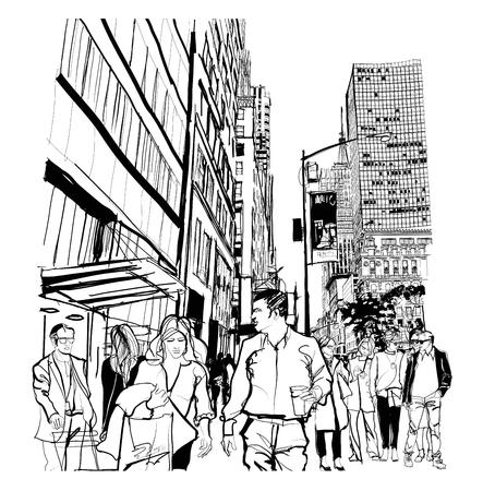 Hora punta en la 5ta avenida en la ilustración de Manhattan.