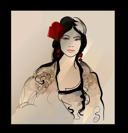 Traditional Spanish Flamenco woman illustration.