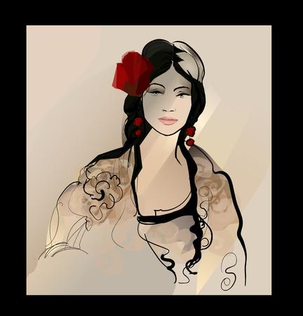 Traditional Spanish Flamenco woman illustration.