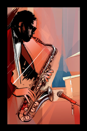 Saxophone player on grunge background - vector illustration Vettoriali