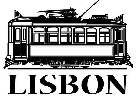 Old classic tramway of Lisbon - vector illustration.