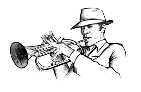 dibujo de un músico tocando la trompeta - ilustración vectorial