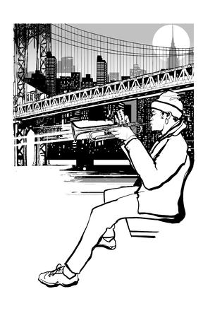 Trompetista en Nueva York (Brooklyn) - ilustración vectorial