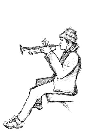 Sketch of a trumpet player - vector illustration