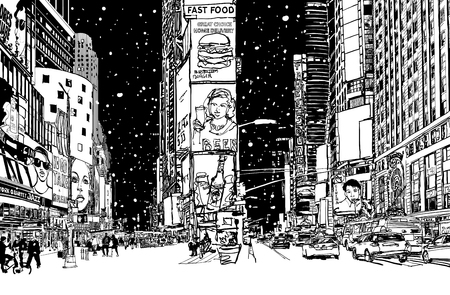 Times square under snow vector illustration.