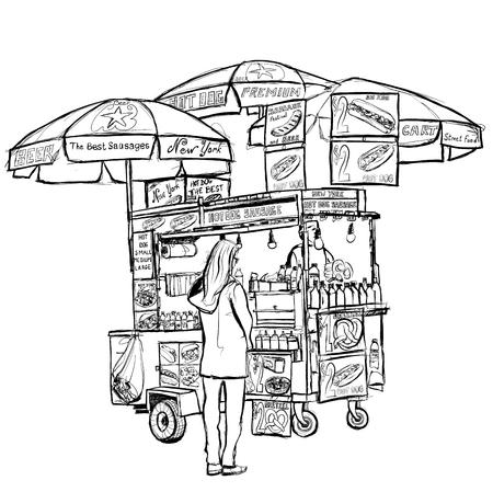 Hot dog street cart in New York - vector illustration