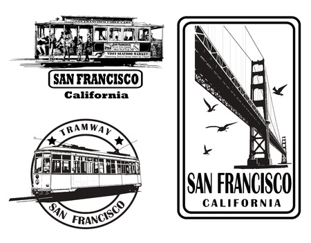 Set of very detailed logos about San Francisco - vector illustration