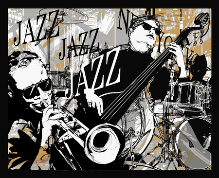 Jazz band on a grunge background - vector illustration Ilustração