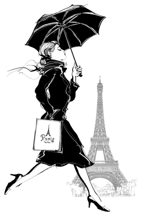 Woman with shopping bag walking under the rain in Paris - vector i;;ustration