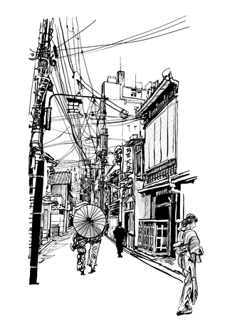 Street in Japan - vector illustration  (japanese caracters are fake - no meaning)