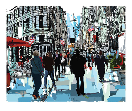 Steet in New York city - vector illustration Illustration