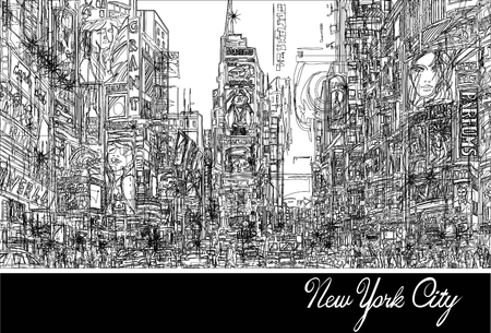 Times square in New York - illustration