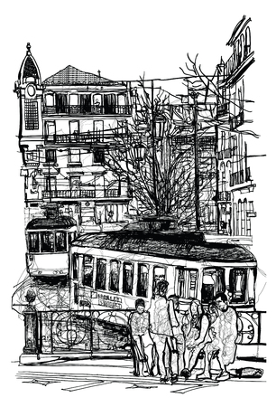 Typical tramway in Lisbon  - Vector illustration