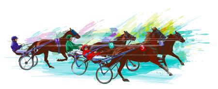 Jockey and horse.Sulky racing on grunge background - Vector illustration. Illustration