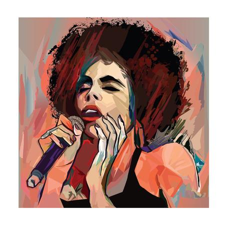 Jazzzanger met microfoon - vectorillustratie Vector Illustratie
