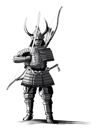 Japanese samourai with sword and bow - vector illustration Banque d'images - 108038099