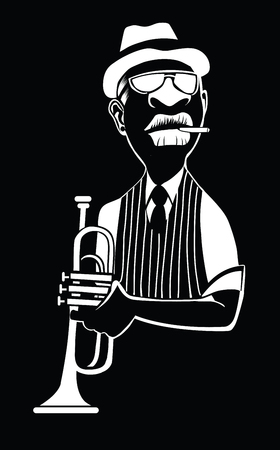 Caricature of a jazz trumpet player - vector illustration Ilustracja