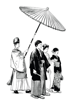 Traditional wedding in Tokyo, Japan - vector illustration