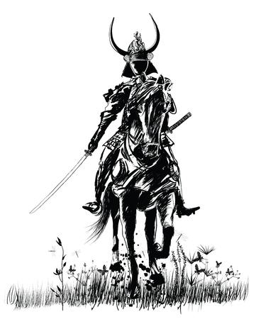 Samurai con spada su un cavallo - vettore