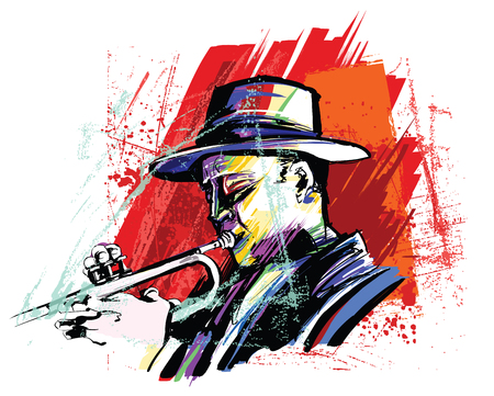 Trumpet player over grunge background - vector illustration 向量圖像