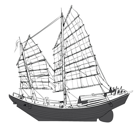 Old chinese junk - vector illustration
