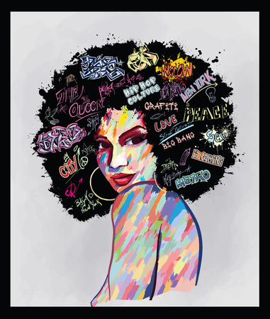 Original abstract art contemporary digital painting portrait of an afro american woman  face,  perfect for interior design, page decoration, web and other: vector illustration Banque d'images - 120806878
