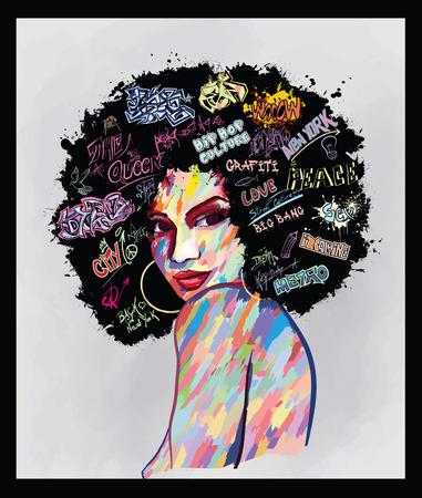 Portrait de peinture numérique contemporaine d'art abstrait original d'un visage de femme afro-américaine, parfait pour la décoration d'intérieur, la décoration de pages, le web et autres : illustration vectorielle