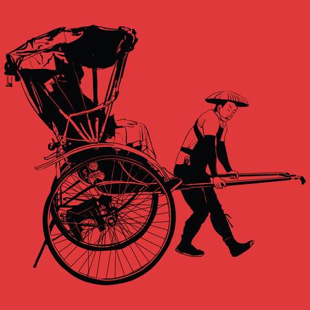 old traditional vintage japanese hand pulled rickshaw - vector illustration Vetores