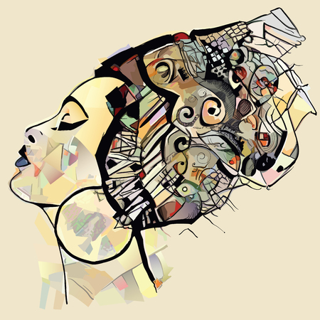 Portrait of cute african woman with hat (profile) perfect for interior design, page decoration, web and other:- vector illustration  (totally fictitious) Vettoriali