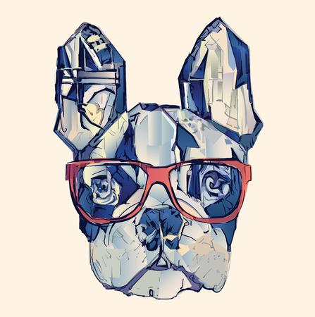 French bulldog in blue - vector illustration Illustration