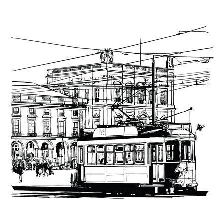 Lisbon, Portugal Praca do commercio - vector illustration Vector Illustration